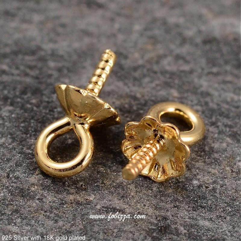 2 τεμ, 5.5 χλστ., 925 Ασήμι Επιχρυσωμένο με 18Κ, Συνδετικό Πέρλας για Δημιουργία Μενταγιόν, Χρυσό