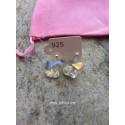 1 ζευγ, 14 χλστ., Ασημένια σκουλαρίκια 925 για Μπάλα και Σύνδεσμο, Ασημί