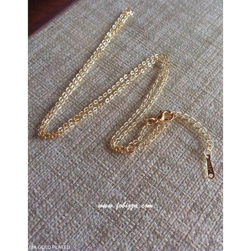 1 τεμ, 46 εκατ., 18Κ Επιχρυσωμένο Κράμα, Αλυσίδα με Κλειστά Ελατήρια, Λεπτή Αλυσίδα, Χρυσό