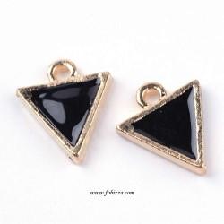 1 τεμ, 14 χλστ, Κράμα Αλουμινίου Σμάλτου, Τρίγωνο, Χρυσό με Μαύρο