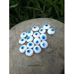 5 τεμ, 16x9 χλστ, Τρύπα: 2 χλστ, Χειροποίητο Γυάλινες Χάντρες, στυλ Κακο Μάτι, Στρογγυλό, Μπλε