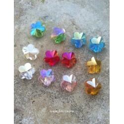 2 τεμ, 15x15 χλστ, Αυστριακό Κρύσταλλο Χάντρα, Λουλούδι, Πολύπλευρο,Κόκκινο, Ροζ, Μπλε, Γαλάζιο, Πράσινο, Πορτοκαλί, Διαφανές