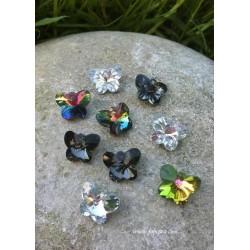 2 τεμ, 15x12 χλστ, Αυστριακό Κρύσταλλο Χάντρα, Πεταλούδα, Πολύπλευρο,Μαύρο, Διαφανές,Πολύχρωμο ΑΒ