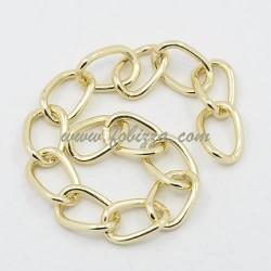 1 μ, 15x10x2 χλστ, Αλουμίνιο, Στριφτή Αλυσίδα με Χαλιναγώγηση, Χρυσό