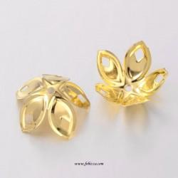 4 Τεμ, 18x8 χλσ,  Λουλούδι Μεταλλική Χάντρα Καπάκι Χρυσό