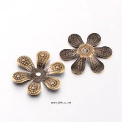5 Τεμ, 16x2 χλσ, Λουλούδι Μεταλλική Χάντρα Καπάκι, Χρυσό Αντίκας