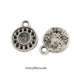 2 τεμ, 15x11x2 χλστ, Τρύπες 1 χλστ, Μεταλλικό, Στρογγυλό, Μενταγιόν Θιβετιανό Στυλ, Flat με 1 Σύνδεσμο, Ασημί Αντίκας