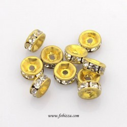 10 τεμ, 6x3 χλστ, Χαλκός με Διαφανή Κρύσταλλα, Χάντρες Spacer, Ροδέλα, Χρυσό