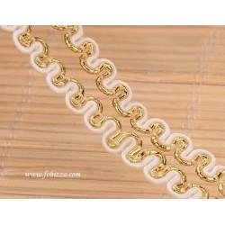 1 μετρο, 6 χλσ, Δαντέλα για σανδάλια και Κοσμήματα, Άσπρο με Χρυσό