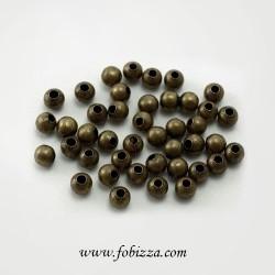 20 τεμ, 6χλστ, Μεταλλικές Στρογγυλές Χάντρες, Χρυσό Αντίκας