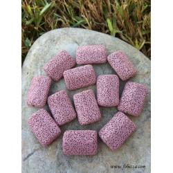 2 τεμ, 28 χλστ, Χάντρα από Λάβα, Ορθογώνιο, Ροζ