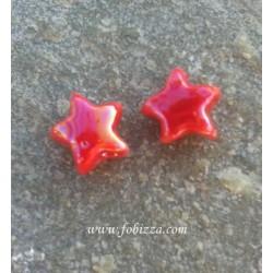 2 τεμ, 12x8 χλστ, Κεραμικές Χάντρες, Αστέρι, Κόκκινο
