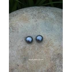 2 τεμ, 7.5 χλστ, Φυσικό Μαργαριτάρι Κοχύλι, Ποιότιτα ΑΑΑ, Στρογγυλό, Μαύρο