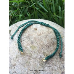 1 τεμ, 13 εκ. μήκος, 5 χλστ πάχος, Μακραμέ Βραχιόλι με Κρίκους Πράσινο Λαδί
