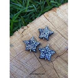 3 τεμ, 22x18 χλστ, Χειροποίητο Δερμάτινο Αστέρι με 2 Συνδέσμους