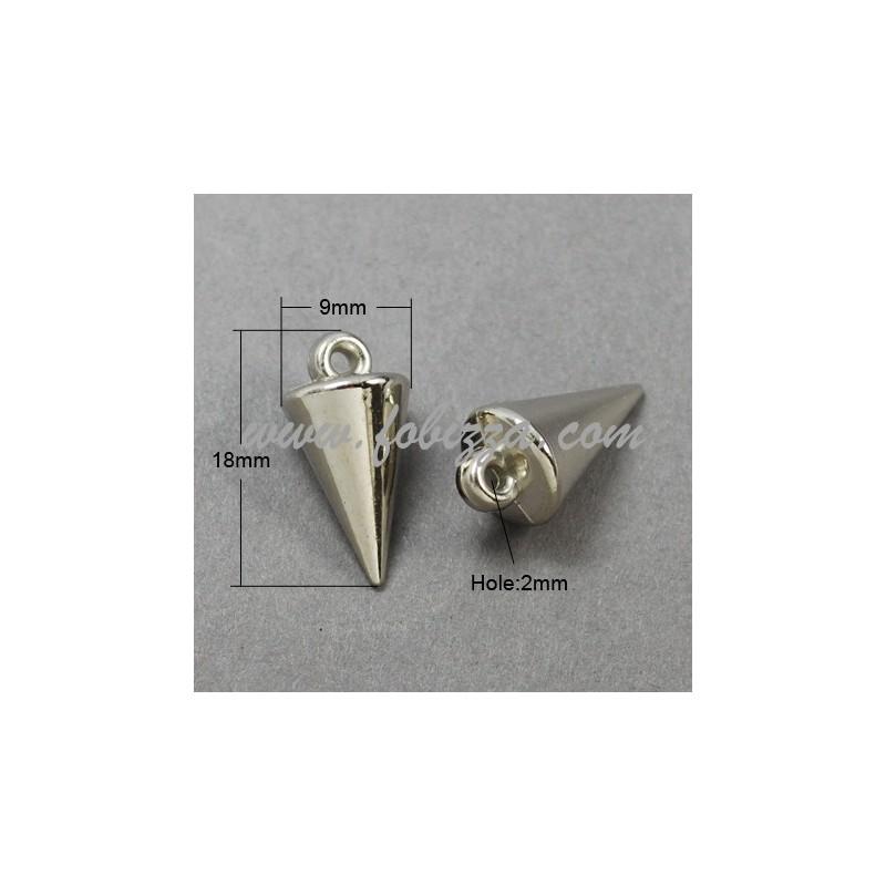 Ακρυλικοί Κρεμαστοί Κώνοι, CCB Style, Ασημί Χρώμα, 18x9 χιλ, Τρύπα: 2 χιλ.