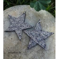 2 τεμ, 44 χλστ, Χειροποίητα Δερμάτινα Αστέρια σε Ασήμι