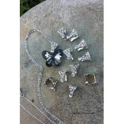 2 τεμ, 10 χλστ, Πεταλούδα με διαμαντάκια, Ασήμι