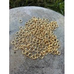 100 τεμ, 5x0.8 χλστ, Κρικάκια από Χαλκό με άνοιγμα, Χρυσό