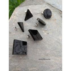 2 τεμ, 20 χλστ, Σκουλαρίκια απο Plexiglass, 1 Τρύπα, Γεωμετρικά Σχήματα, Κύκλος, Ρόμβος, Τρίγωνο, σε Μαυρο