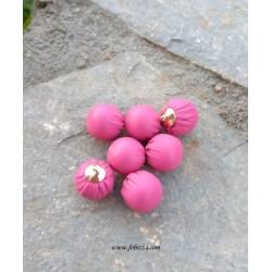 2 τεμ, 17x15 χλστ, Δερμάτινα Πομπομ, Κρεμαστό με Χρυσή Βάση, σε Ροζ