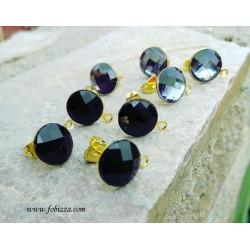 2 τεμ, 10 χλστ, Σκουλαρίκια με πολύπλευρο Ακρυλικό Καμπουσόν με Χρυσή Βάση, σε Μαύρο και Γκρί