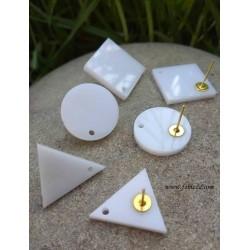 2 τεμ, 20 χλστ, Σκουλαρίκια απο Plexiglass, 1 Τρύπα, Γεωμετρικά Σχήματα, Κύκλος, Ρόμβος, Τρίγωνο, σε Ασπρο