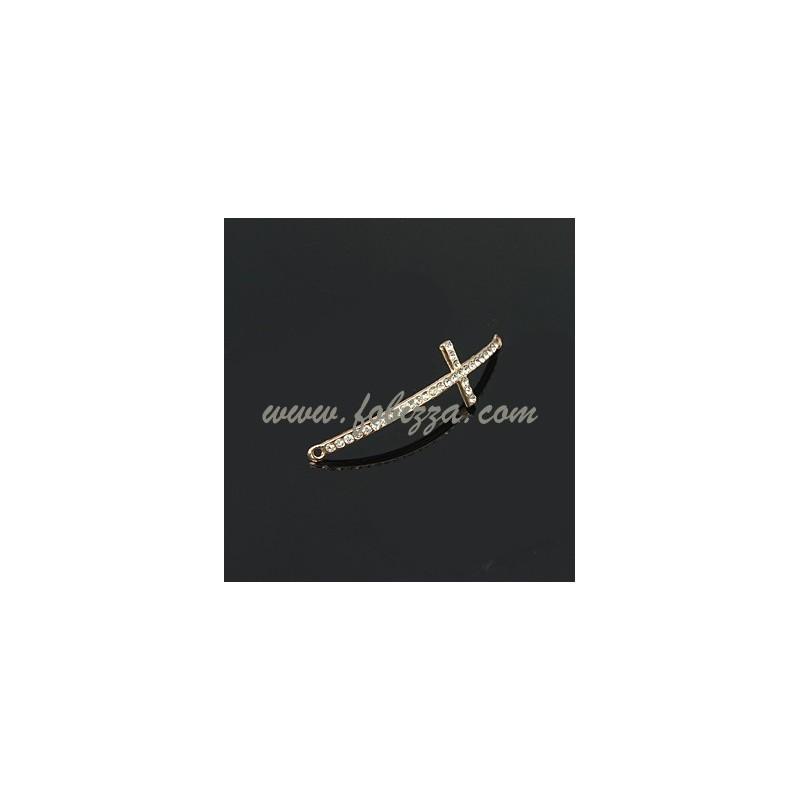Κράμα Μετάλλων συνδεδεμενο με Κρύσταλλα Στρας, Σταυρος για Βραχιόλι, Χρυσό, 50x15x2χιλ, Τρύπα: 1χιλ