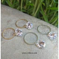 2 τεμ, 22 χλστ, 8 χλστ Κρυσταλλο, Κυκλος με Κρεμαστό Διαφανές Κρυσταλλάκι, Χρυσο και Ασημι
