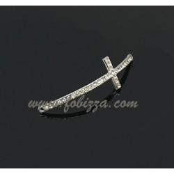 Κράμα Μετάλλων συνδεδεμένο με Κρύσταλλα Στρας, Σταυρός για Βραχιόλι, Πλατινέ Χρώμα, 50x15x2χιλ, Τρύπα: 1χιλ