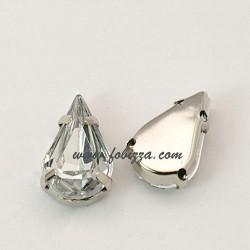 10 τεμ, 18x13x5 χλστ, 2 χλστ τρύπα, Ακρυλικό τεχνητό διαμάντι Χάντρες Οβάλ, Διαφανές, Πίσω μερος Χαλκό