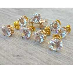 2 τεμ, Σκουλαρίκια Χρώμα Χρυσό με Διαμαντάκι