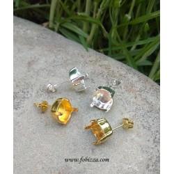 2 τεμ, 8 χλστ, Σκουλαρίκια με Καστόνι, Χωρις Σύνδεσμο,  σε Χρυσό και Ασημί
