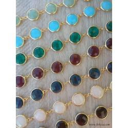 1 τεμ, 22x15 χλστ, Χαλκός με Κρύσταλλο, 2 συνδέσμους, σε Μπορντό, Μαύρο, Πράσινο, Πράσινο Ανοιχτό, Μπλε Ναυτικό, Τυρκουαζ, Λευκό