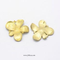 1 τεμ, 28x29x3.5mm, Λουλούδι σε χρυσό Ελ. Απο Νικέλιο και Κάδμιο