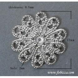 5 τεμ, 17x0.5 χλστ, Στρογγυλό Φιλιγκραν απο Σίδερο, Ασημί