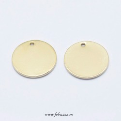 2 τεμ, Electroplated Brass Pendant, Long-Lasting Plated, Real 18K Gold Plated, Nickel Free, Flat Round, mm