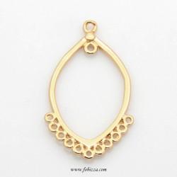 2 τεμ, Brass Horse Eye Chandelier Component Links, Golden, 39x21x2mm, Hole: 1~2mm