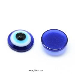 50 τεμ, Resin Evil Eye Cabochons, Half Round/Dome, Blue, 6x3~3.2mm