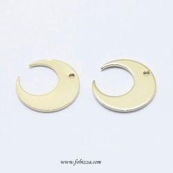 2 τεμ, Electroplated Brass Pendant, Long-Lasting Plated, Real 18K Gold Plated, Nickel Free, Moon, 14x14x0.7mm, Hole: 1mm