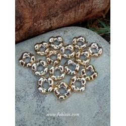 10 τεμ, 13 χλστ, Ακρυλική Χάντρα, Κυματιστός Κρίκος, Χρυσό