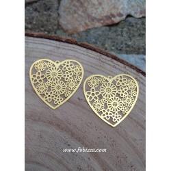 2 τεμ, 32 χλστ, Μεταλλική Καρδιά σε Χρυσό