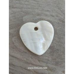 2 τεμ, 30 χλστ, Κέλυφος Κοχυλιού σε Καρδιά Γεωμετρικό Σχήμα, Κρεμαστό,  Ιβουάρ