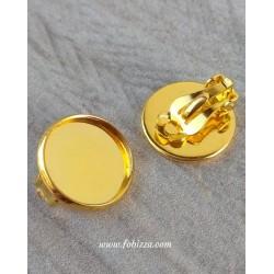 2 τεμ, 18 χλστ Καστόνι, Χαλκος, Σκουλαρίκια Κλιπ χωρίς τρύπα, Χρυσό
