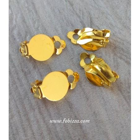 1 ζευ, 12 χλστ Καστόνι, Χαλκος, Σκουλαρίκια Κλιπ χωρίς τρύπα, Χρυσό