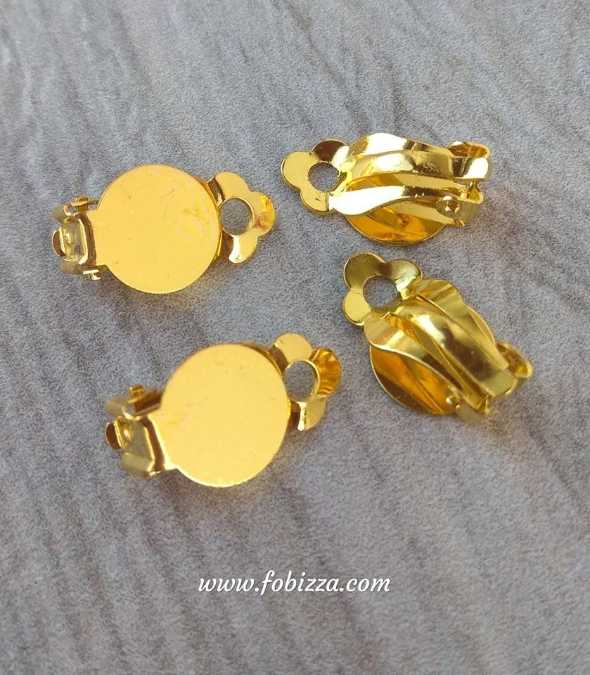 Brass Hoop Earrings Components Kidney Ear Wires, Gold Color, 33x14mm -  Fobizza