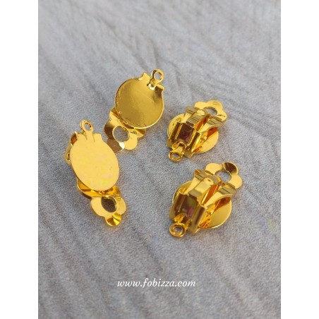 1 ζευ, 10 χλστ Καστόνι, Χαλκός, Σκουλαρίκια Κλιπ με Σύνδεσμο, Χρυσό