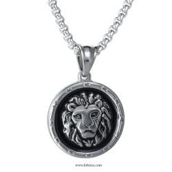 1 τεμ, 27 χλστ, 304 Ανοξείδωτο Χάλυβα με Σμάλτο, Λιοντάρι, Κρεμαστό, Ατσαλιού