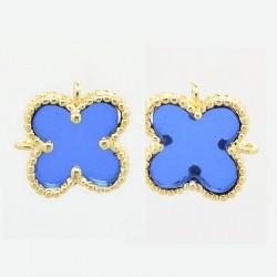 1 τεμ, 12x9x3 χλστ,  Επιχρυσωμένος Χαλκός , 2 Links, Λουλούδι, Μπλε