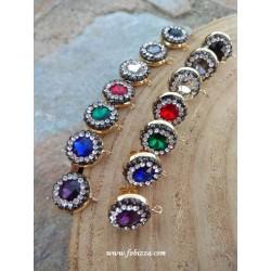 1 ζευγ, 15 χλστ, Χειροποίητα Σκουλαρίκια με Κρύσταλλο και Διαμαντάκια, Τριγωνικό, 1 Σύνδεσμό, σε Κόκκινο, Μπλε και Διαφανές